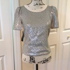 NWT Bebe puff sleeve blush sequin stretch top XS